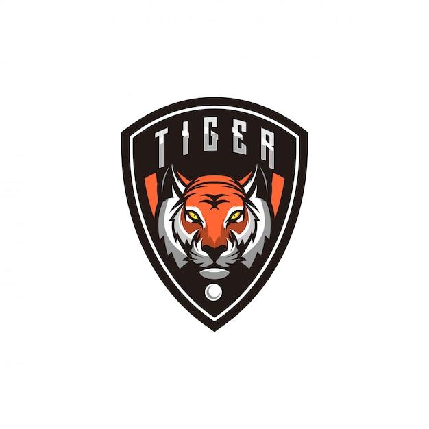 Tigerlogoentwurf mit shild Premium Vektoren