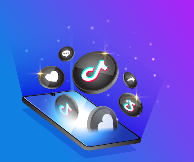 Tiktok 3d soziale mediensymbole mit smartphone-symbol Premium Vektoren