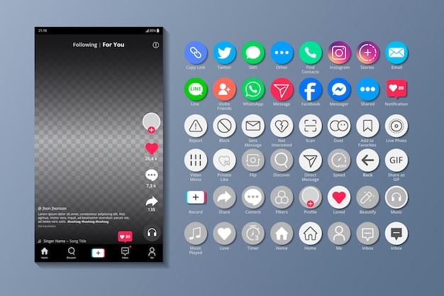 Tiktok-oberfläche und smartphone-apps Premium Vektoren
