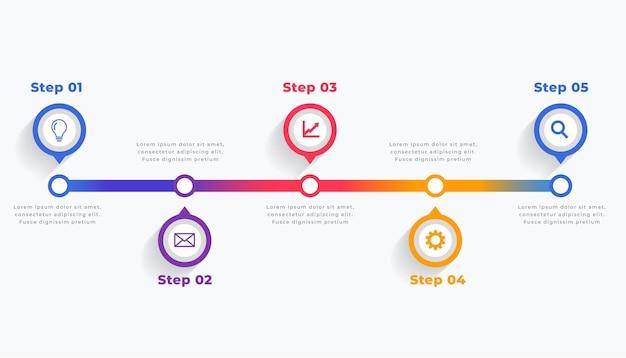 Timeline-infografik-vorlage in fünf schritten Kostenlosen Vektoren