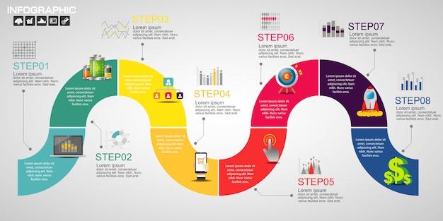 Timeline infografiken designvorlage mit optionen. Premium Vektoren