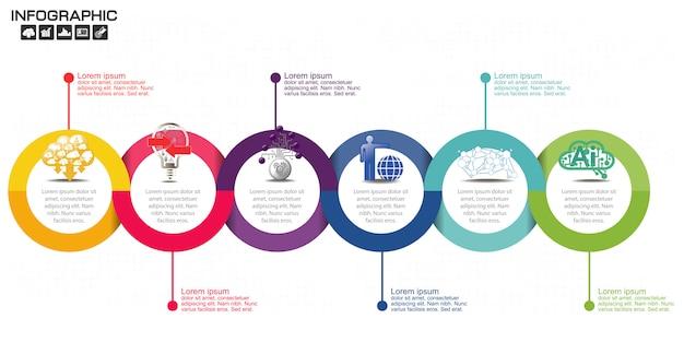 Timeline infografiken designvorlage mit sechs optionen. Premium Vektoren