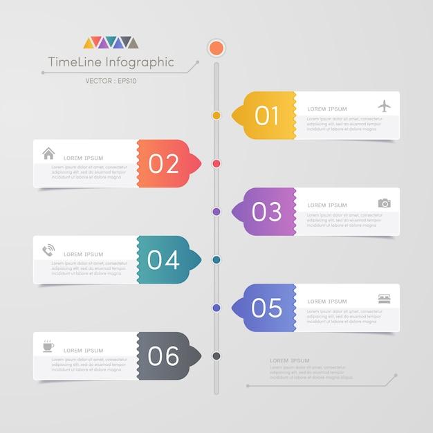 Timeline infografiken designvorlage mit symbolen Premium Vektoren
