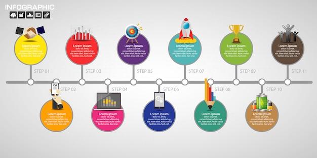 Timeline infografiken designvorlage Premium Vektoren
