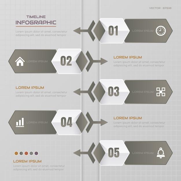 Timeline infografiken entwurfsvorlage mit symbolen Premium Vektoren