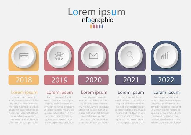 Timeline-infografiken mit 5 schritten oder optionen. Premium Vektoren