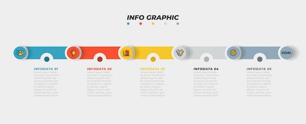 Timeline-infografiken mit marketing-symbol und schritt, option, prozess. Premium Vektoren