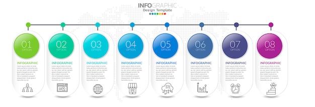 Timeline-infografiken mit schritt und marketing-symbole Premium Vektoren