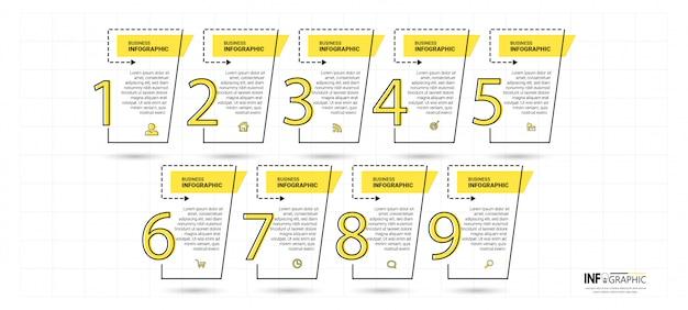 Timeline infographics vorlage mit 9 schritten Premium Vektoren