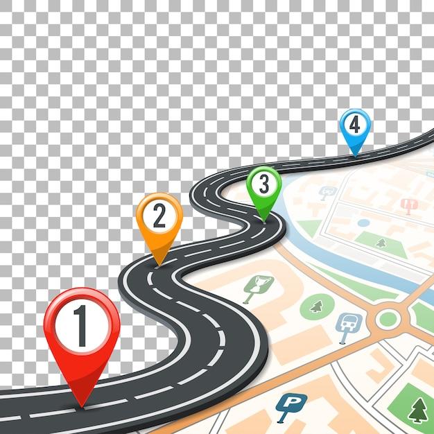 Timeline road infografiken mit pin-zeigern Premium Vektoren