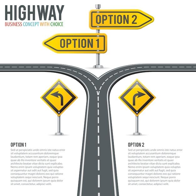 Timeline road infografiken mit wegweisern Premium Vektoren