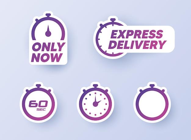 Timer-aufkleber eingestellt. timer, uhr, stoppuhr-symbole Premium Vektoren