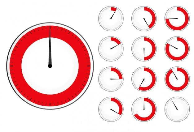 Timer-uhr eingestellt. roter countdown-timer Premium Vektoren