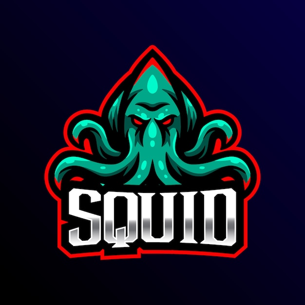 Tintenfisch maskottchen logo esport gaming illustraition. Premium Vektoren