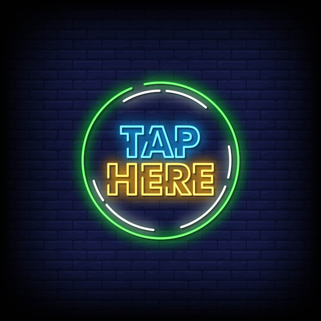 Tippen sie hier auf neon signs style text Premium Vektoren