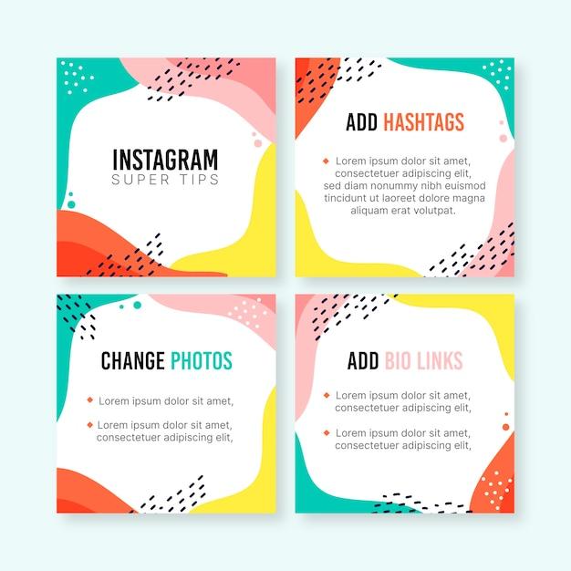 Tipps instagram post sammlung Kostenlosen Vektoren