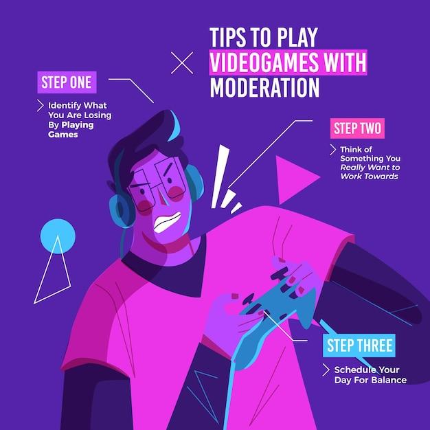 Tipps zum spielen von online-spielen mit moderation mit dem spieler Kostenlosen Vektoren