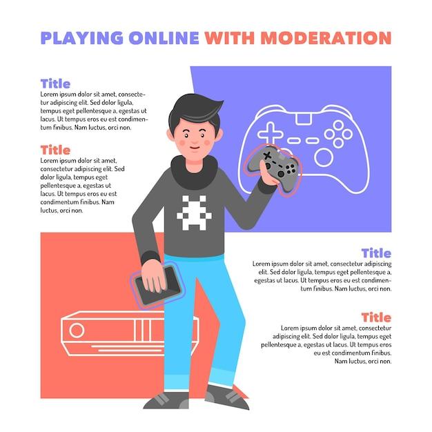 Tipps zum spielen von online-spielen mit moderationsvorlage Kostenlosen Vektoren