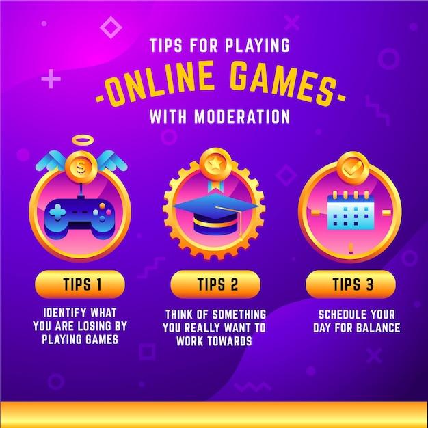 Tipps zum spielen von videospielen mit mäßigung Premium Vektoren