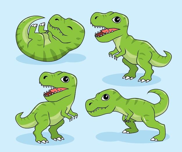 Tiranosaurus rex cartoon dinosaurier t-rex Premium Vektoren
