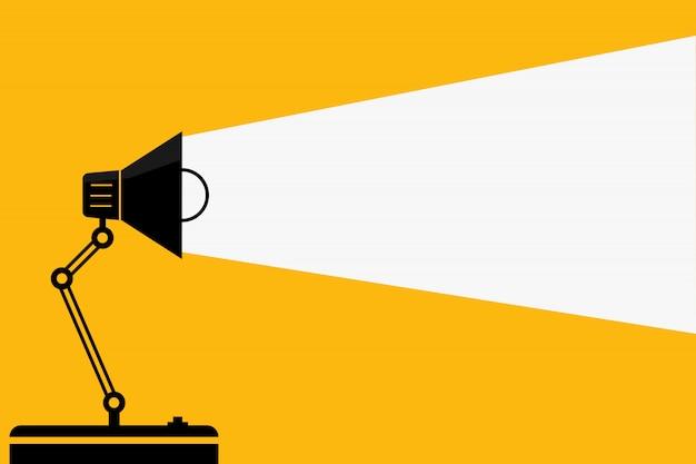 Tischbüro lampe und lichter. - ideen und denkkonzept. - platz für ihren text. Premium Vektoren