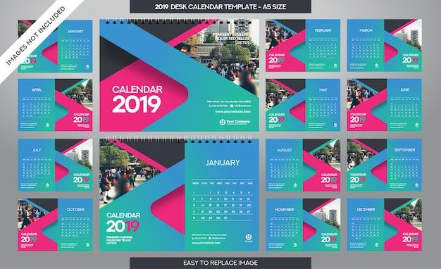 Tischkalender 2019 vorlage Premium Vektoren