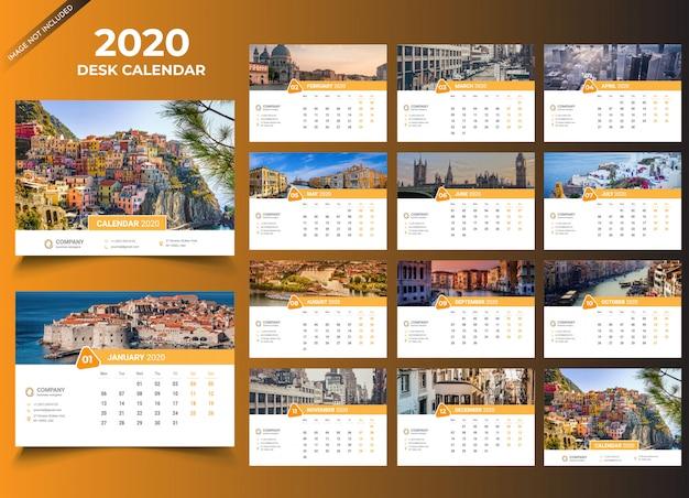 Tischkalender 2020 vorlage Premium Vektoren