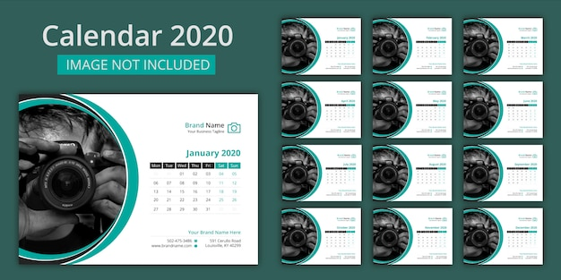 Tischkalender 2020 Premium Vektoren