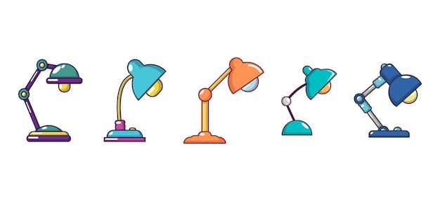 Tischlampe-icon-set. karikatursatz tischlampenvektorikonen eingestellt lokalisiert Premium Vektoren
