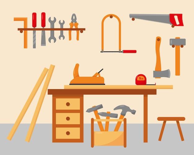Tischlerarbeitsplatz mit werkzeugen. Premium Vektoren