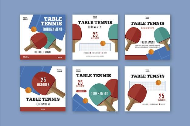 Tischtennis instagram post vorlage Premium Vektoren
