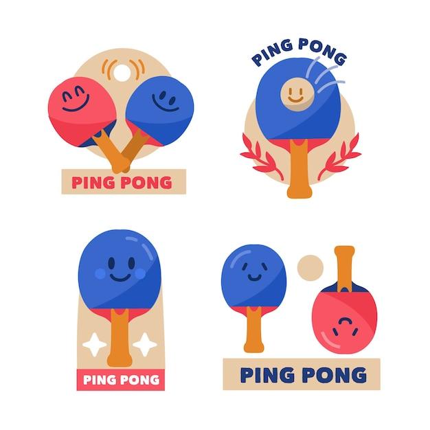 Tischtennis logo design kollektion Kostenlosen Vektoren