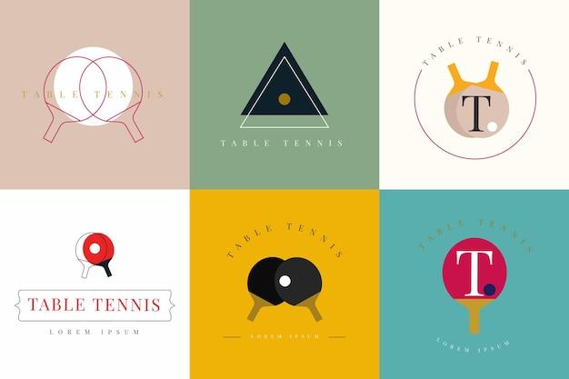 Tischtennis-logo-kollektion Premium Vektoren