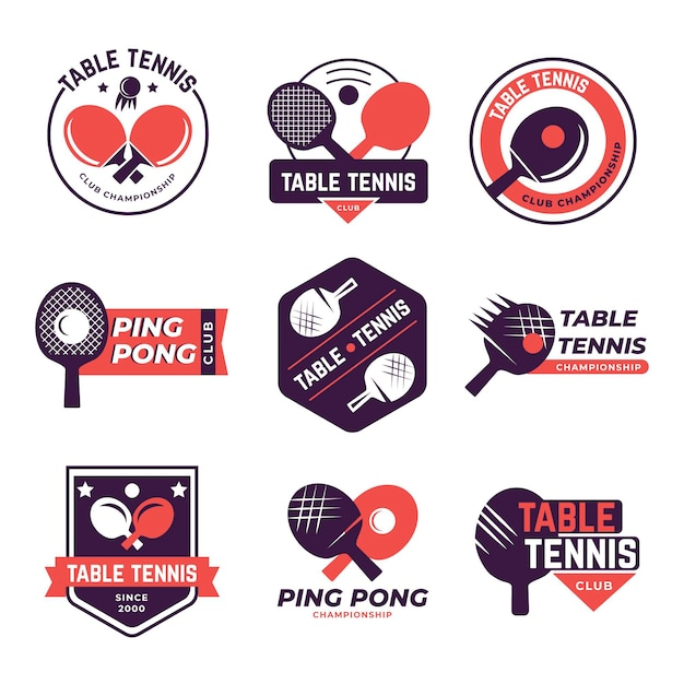 Tischtennis-logo-pack Premium Vektoren