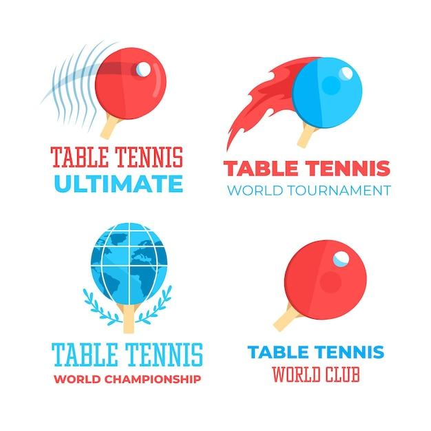 Tischtennis-logo-stil-kollektion Kostenlosen Vektoren