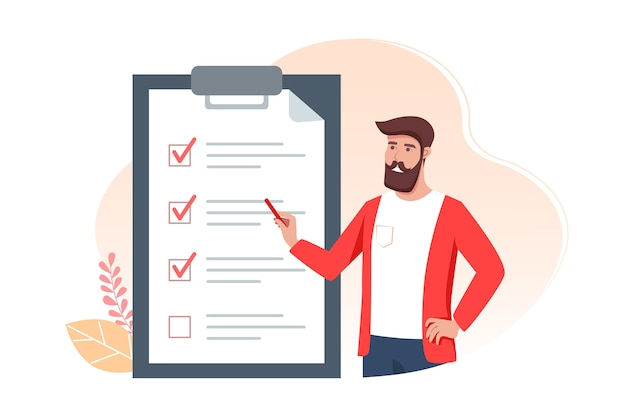 To-do-liste illustration, mann hält einen bleistift und notiert erledigte aufgaben pünktlich Premium Vektoren