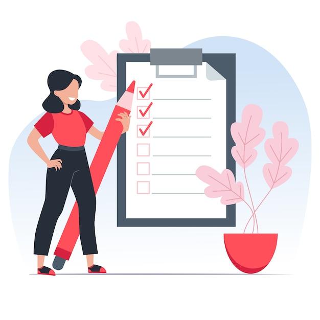 To-do-liste, mädchen hält einen roten stift und notiert erledigte aufgaben pünktlich. zeitmanagement-konzept. illustration Premium Vektoren