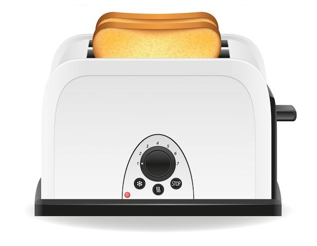 Toast in einer toastervektorillustration Premium Vektoren