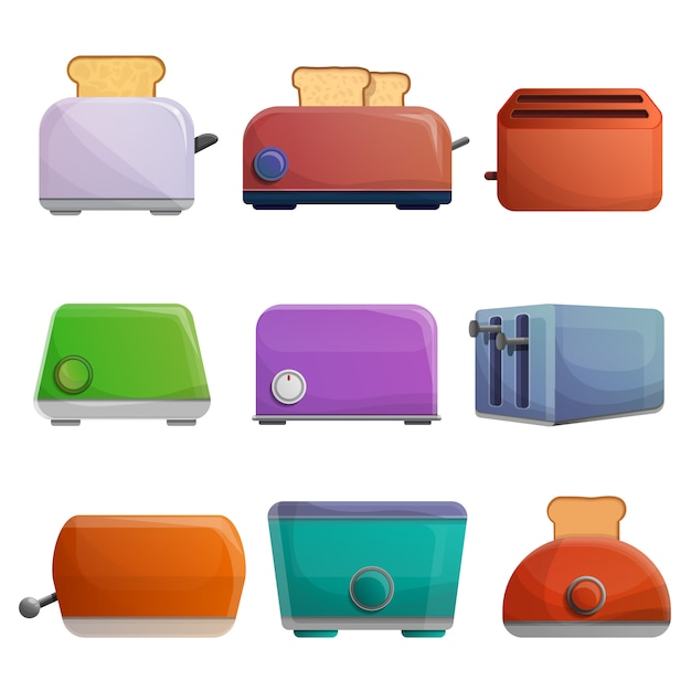 Toaster-icon-set, cartoon-stil Premium Vektoren