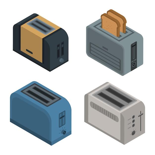 Toaster-icon-set. isometrischer satz toastervektorikonen für das webdesign lokalisiert auf weißem hintergrund Premium Vektoren
