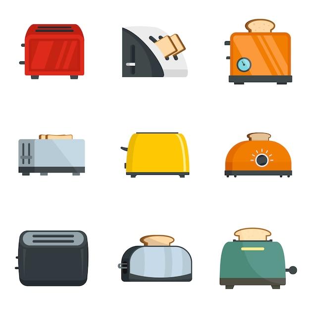 Toaster-küchenbrotofenikonen eingestellt Premium Vektoren