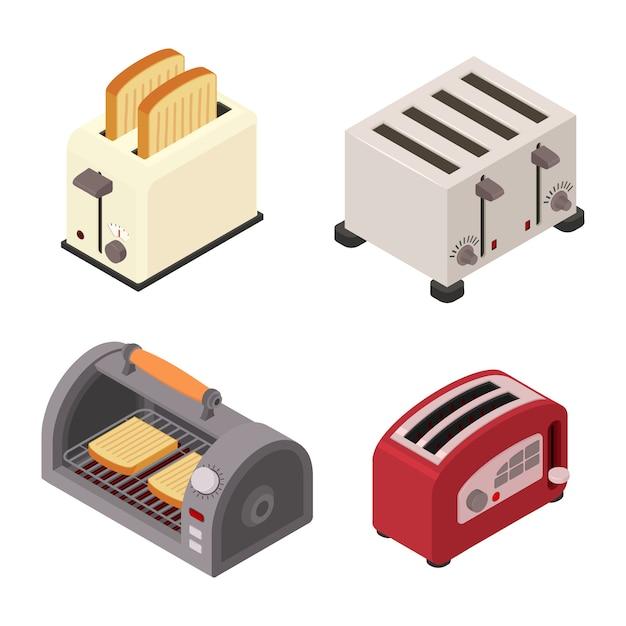 Toastersatz, isometrische art Premium Vektoren