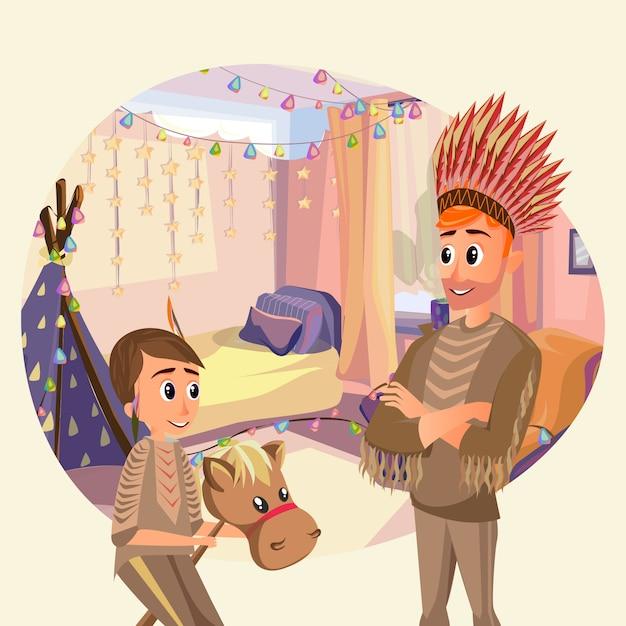 Tochter-vater play indians nursery mit wigwam Premium Vektoren