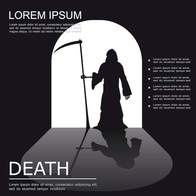 Tod gruseliges monochromes plakat Kostenlosen Vektoren