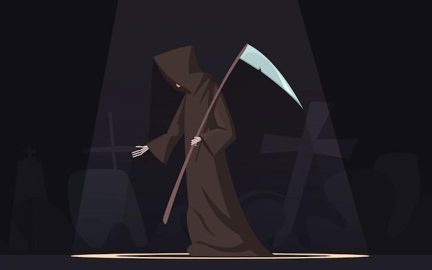 Tod mit traditioneller schwarz-mit kapuze sensenmannsfigur der sense in dunkelem hintergrund des scheinwerfers Kostenlosen Vektoren