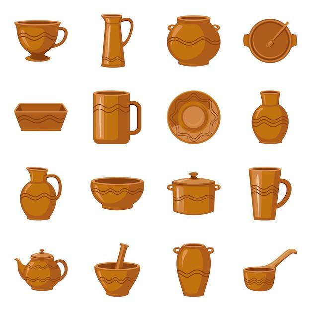 Töpferware und keramischer karikaturelementsatz. isolierte darstellung mug.jug.pot und andere töpferwaren. elementsatz aus keramik dish.bowl und vase. Premium Vektoren