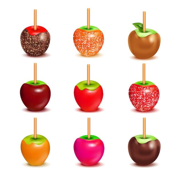 Toffee-süßigkeits-äpfel-zusammenstellungs-satz Kostenlosen Vektoren