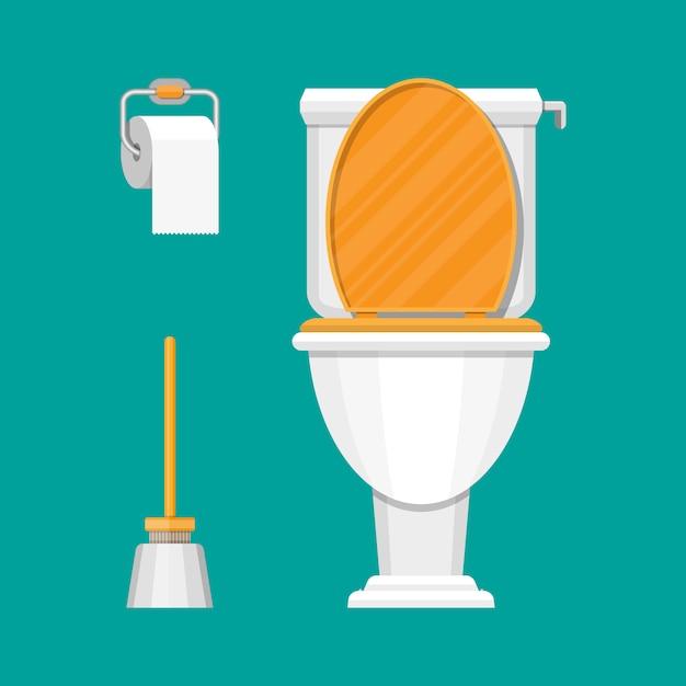 Toilette, papier und bürste Premium Vektoren