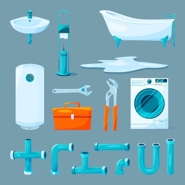 Toiletten- und badezimmermöbel, pfeife und verschiedene geräte für klempnerarbeiten. Premium Vektoren
