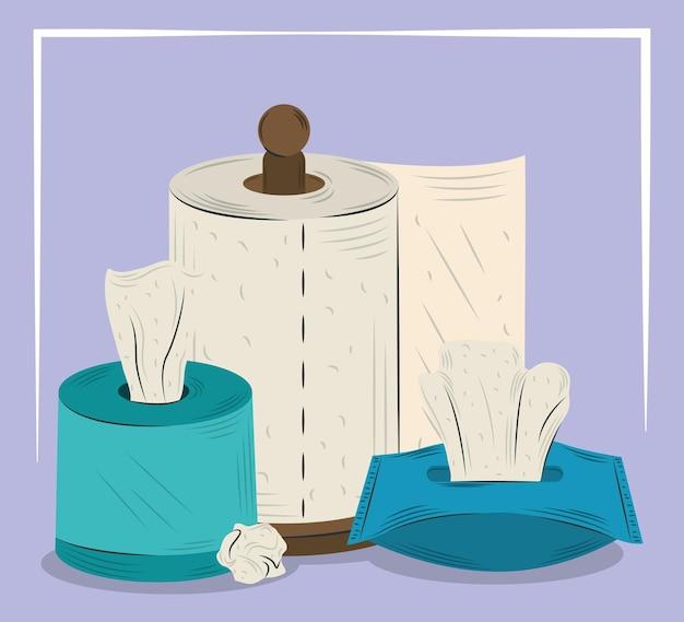 Toilettenpapier, seidenpapier und küchenpapier handtuch hygiene design illustration Premium Vektoren